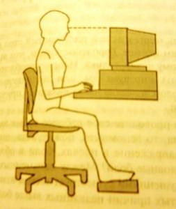 Правильное расположение компьютера: верхний край монитора находится на уровне глаз